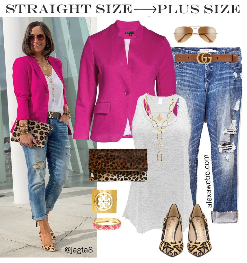 Straight Size to Plus Size – Pink Blazer & Jeans, Leopard Heels and Clutch, with Distressed Boyfriend Jeans - Alexa Webb #plussize #alexawebb