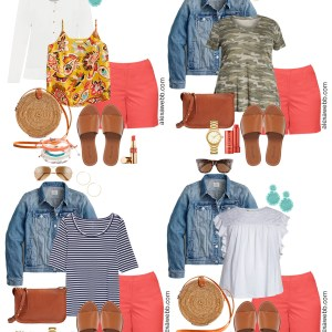 Plus Size Shorts Summer Mini-Capsule with coral shorts, summer tops, cardigan, demin jacket, and sandals - Alexa Webb #plussize #alexawebb