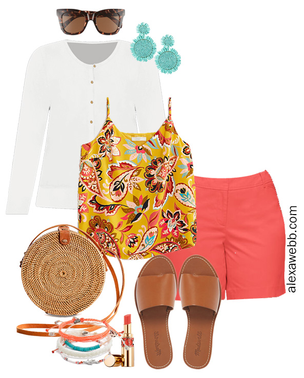 Plus Size Coral Shorts Outfit with Printed Cami, White Cardigan, Slide Sandals, Rattan Crossbody Bag, and Statement Earrings - Alexa Webb #plussize #alexawebb