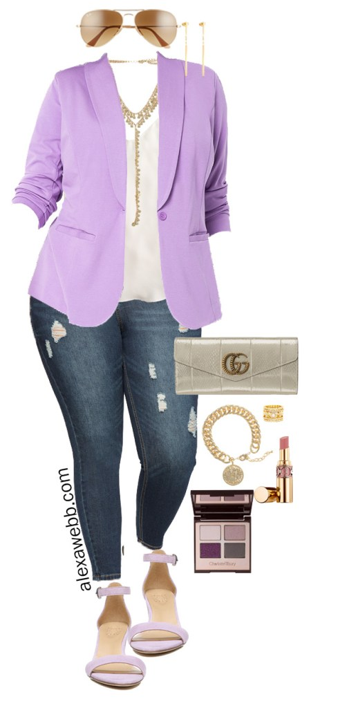 Plus Size Lavender Blazer Outfit Ideas for Spring. This one is perfect for date night! Alexa Webb #plussize #alexawebb