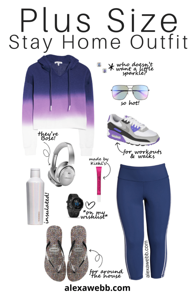 Plus Size Stay Home Outfit with Loungewear and flip flops for in the house and sneakers for walks. Alexa Webb #plussize #alexawebb