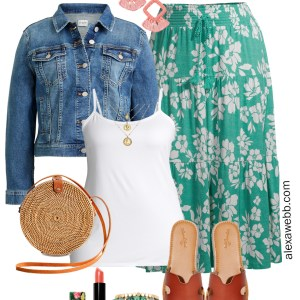 Plus Size on a Budget with a Green Floral Maxi Skirt and White Camisole - Perfect for Summer - Alexa Webb #plussize #alexawebb