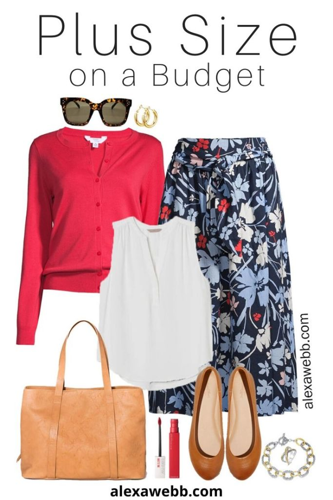 Plus Size Budget Work Outfit with Floral Midi Skirt, Cardigan, and Ballet Flats - Alexa Webb #plussize #alexawebb