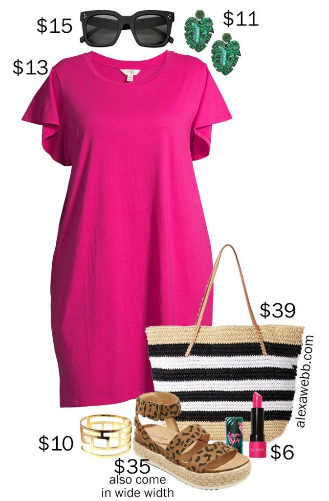 Plus Size on a Budget - Pink T-Shirt Dress Outfit with Palm Leaf Earrings, Straw Tote Bag, and Leopard Espadrille Sandals - Alexa Webb #plussize #alexawebb