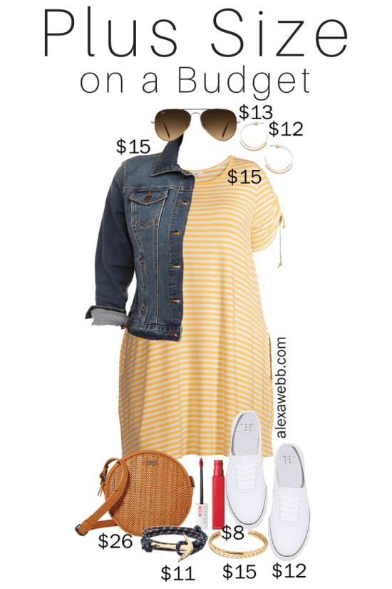 Plus Size on a Budget - Yellow Stripe Dress Outfits - Acrylic Hoop Earrings, White Sneakers, and Crossbody Bag - Alexa Webb #plussize #alexawebb