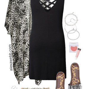 Plus Size Dress & Kimono Outfit for Summer with Slide Sandals, Embroidered Clutch, Trendy Silver Jewelry and Celine Sunglasses - Alexa Webb #plussize #alexawebb