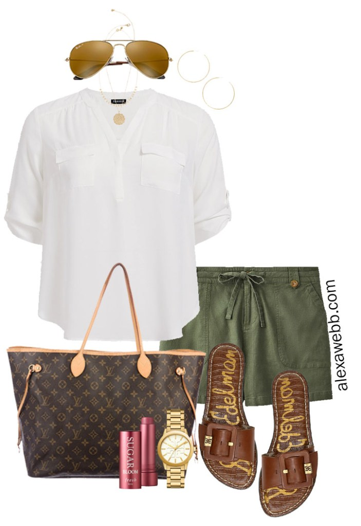 Plus Size Khaki Green Linen Shorts Outfit with White Blouse, Louis Vuitton Neverfull GM, Slide Sandals - Perfect for summer! Alexa Webb #plussize #alexawebb