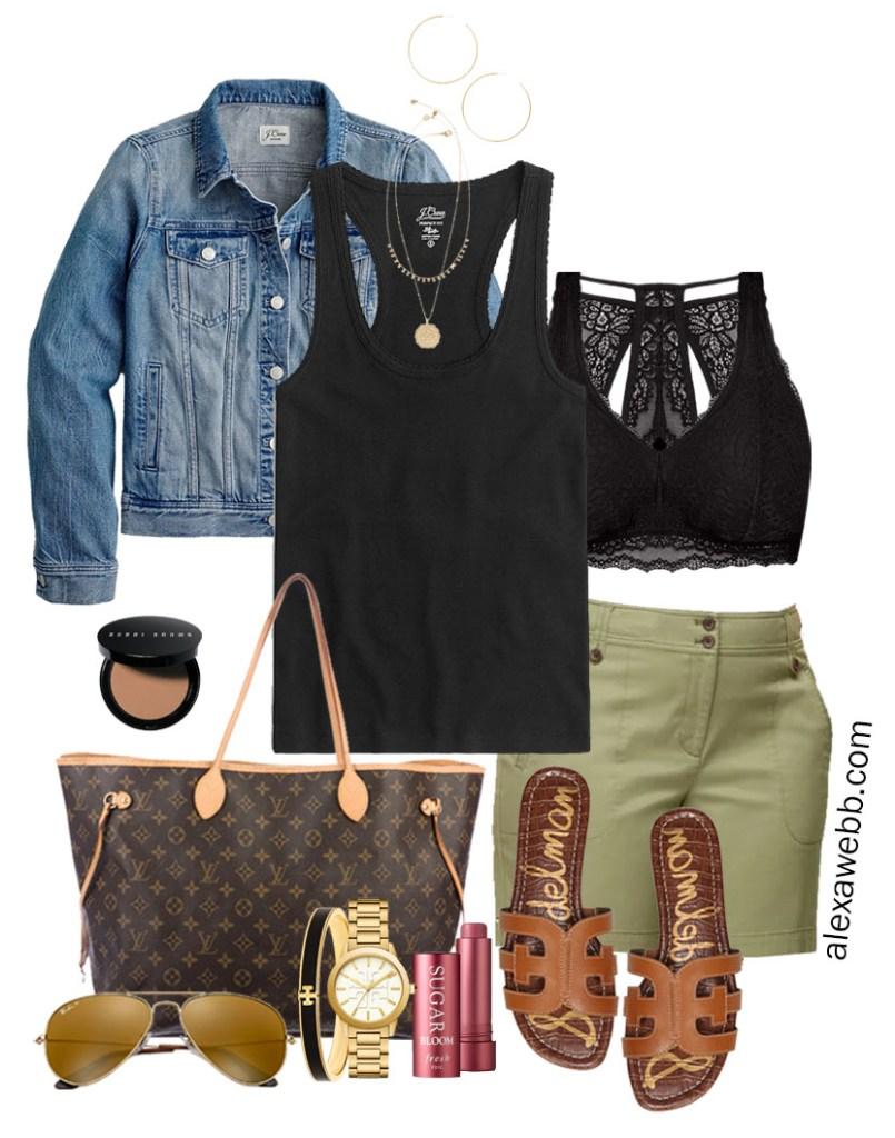 Plus Size Khaki Shorts Outfits with Green Shorts, Black Tank Top, Lace Bralette, Denim Jacket, Louis Vuitton Neverfull, Flat Sandals - Alexa Webb #plussize #alexawebb