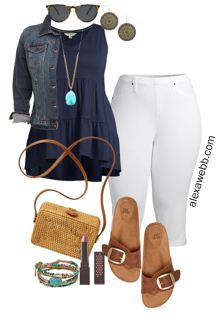 Plus Size Summer Outfits with Walmart - Plus Size Cropped White Jeans with a Navy Tiered Top and Boho Accessories like Wood Earrings and Rattan Bag on a Budget - Alexa Webb #plussize #alexawebb