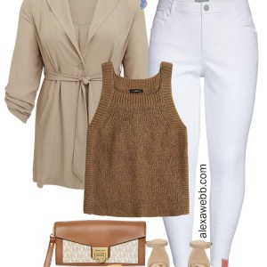 Plus Size Beige Casual Outfit with white skinny jeans, brown sleeveless sweater, and lightweight trench. Alexa Webb #plussize #alexawebb