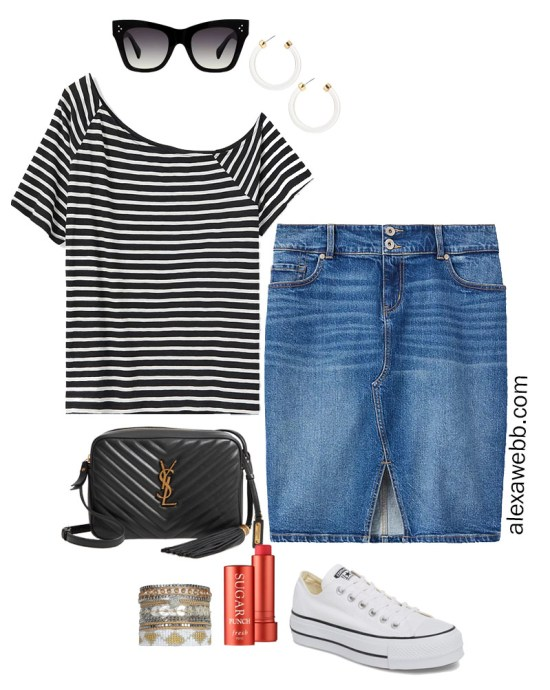 Plus Size Striped Tee Athleisure Outfit with Off-the-Shoulder t-shirt, denim skirt, crossbody bag, and platform Converse sneakers - Alexa Webb #plussize #alexawebb