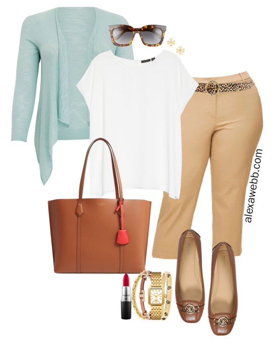 Plus Size Summer into Fall Work Outfit with White Cap Sleeve Blouse, Tan Cropped Pants, Cognac Mocs, and Mint Aqua Blue Cardigan - Alexa Webb #plussize #alexawebb