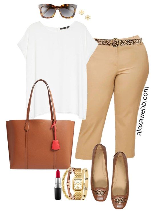 Plus Size Summer Work Outfit with White Cap Sleeve Blouse, Tan Cropped Pants, Cognac Mocs, and Tan Tote Bag - Alexa Webb #plussize #alexawebb