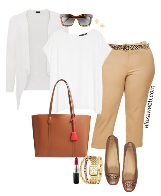 Plus Size Summer Work Outfit with White Cap Sleeve Blouse, Tan Cropped Pants, Cognac Mocs, White Cardigan, and Tan Tote Bag - Alexa Webb #plussize #alexawebb