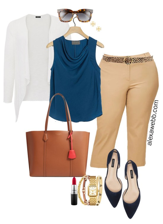 Plus Size Summer into Fall Work Outfit with Teal Top, Tan Cropped Pants, Leopard Belt, Navy Flats, and White Cardigan - Alexa Webb #plussize #alexawebb
