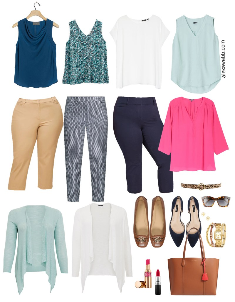 Plus Size Summer Work Capsule Wardrobe Collection with Navy, Aqua, and Hot Pink - Alexa Webb #plussize #alexawebb