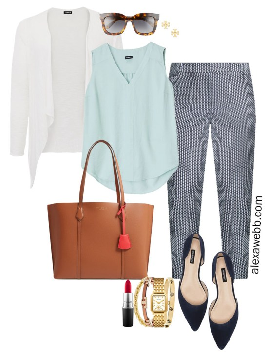 Plus Size Summer into Fall Work Outfit with Aqua Mint Blue Top, Navy Printed Pants, and White Cardigan - Alexa Webb #plussize #alexawebb