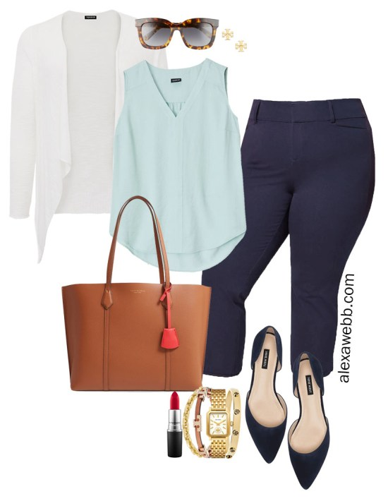 Plus Size Summer into Fall Work Outfit with Aqua Mint Blue Top, Navy Cropped Pants, Navy Flats, and White Cardigan - Alexa Webb #plussize #alexawebb