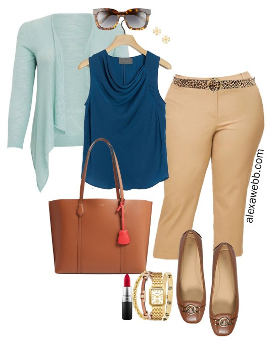 Plus Size Summer into Fall Work Outfit with Teal Top, Tan Cropped Pants, Cognac Mocs, and Mint Aqua Blue Cardigan - Alexa Webb #plussize #alexawebb