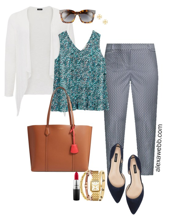 Plus Size Summer into Fall Work Outfit with Printed Top, Navy Printed Pants, Navy Flats, and White Cardigan - Alexa Webb #plussize #alexawebb