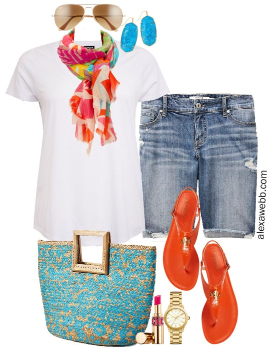 Plus Size Bright Summer Outfit with Distressed Denim Bermuda Shorts, White T-Shirt, and Colorful Accessories - Alexa Webb #plussize #alexawebb