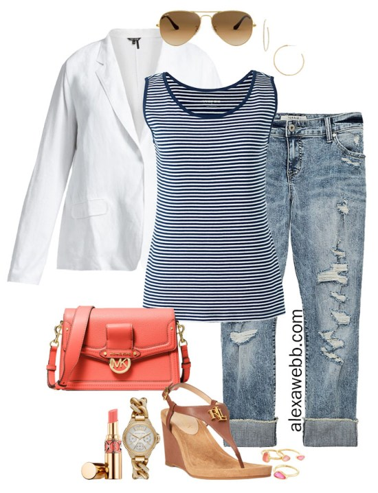 Plus Size White Linen Blazer Outfit with Striped Tank, Distressed Jeans, a Coral Bag, and Wedge Sandals - Alexa Webb #plussize #alexawebb