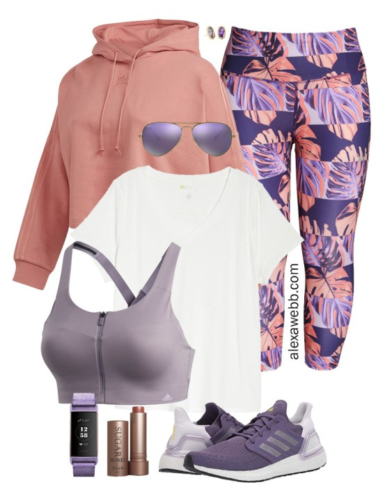 Plus Size Workout Wear - Hoodie, Leggings. T-Shirt, Sports Bra, and Adidas Sneakers - Alexa Webb #plussize #alexawebb