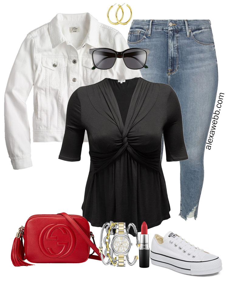 Plus Size Black Top Outfits - Day Look for Summer into Fall with Platform Sneakers, Jeans, and White Denim Jacket - Alexa Webb #plussize #alexawebb