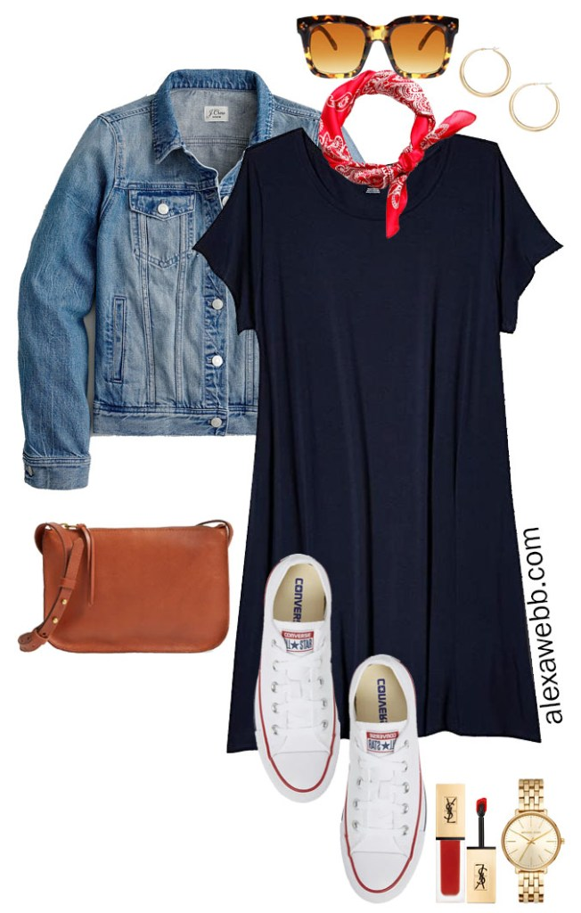 Plus Size Navy T-Shirt Dress Outfit for Summer with Denim Jacket, Red Bandana, Converse Sneakers, and Madewell Crossbody Bag - Alexa Webb #plussize #alexawebb