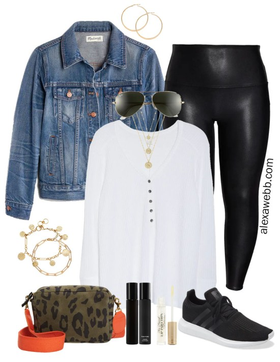 Nordstrom Anniversary Sale 2020 – Plus Size Outfits with Black Spanx Faux Leather Leggings, Denim Jacket, Henley Top, Adidas Sneakers, and a Clare V Crossbody Bag - Alexa Webb #plussize #alexawebb