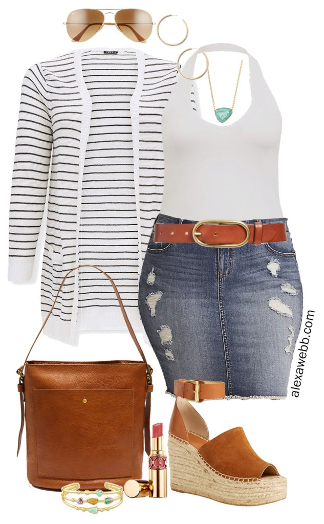 Plus Size Stripe Cardigan Outfit for Summer into Fall with a distressed denim skirt, white halter top, bucket bag, and platform espadrille sandals - Alexa Webb #plussize #alexawebb
