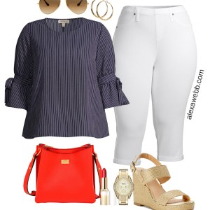 Plus Size White Jeggings Outfit with Walmart. A little nautical. A navy and white striped top with a red crossbody bag and gold wedge sandals - Alexa Webb #plussize #alexawebb