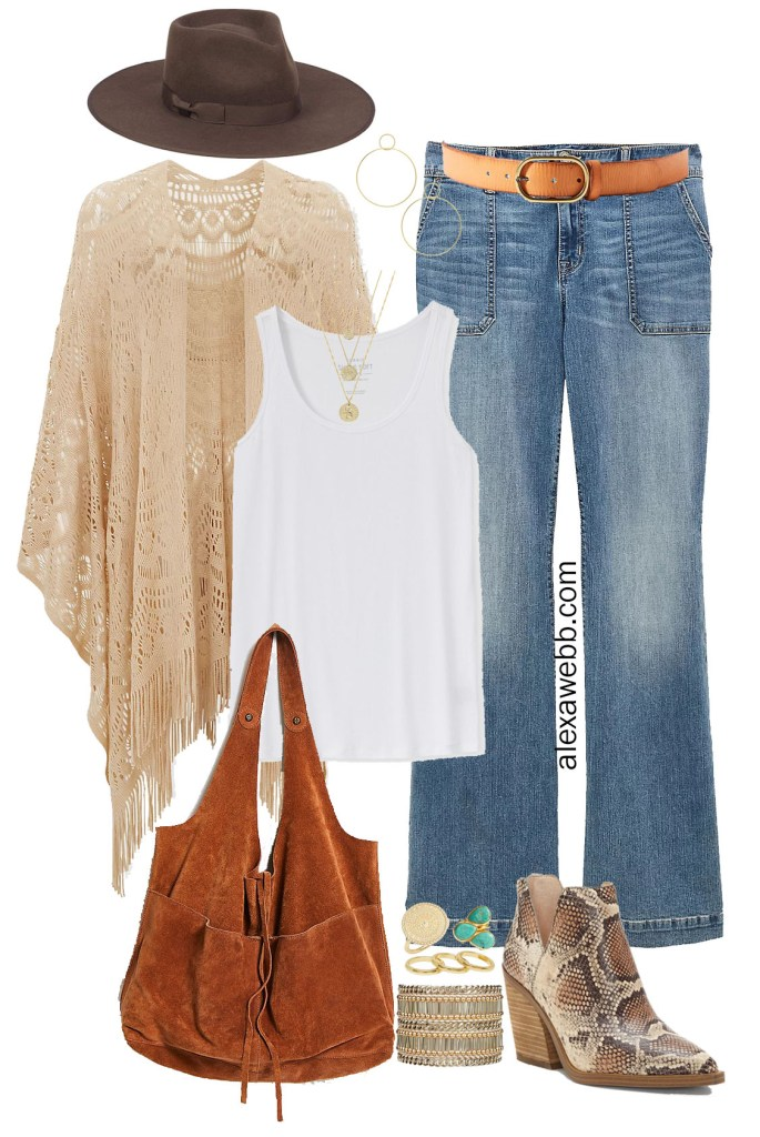 Plus Size Boho Outfit Ideas with fringe ruana kimono, flare jeans, rancher felt hat, slouchy suede bag, and snake ankle booties - Alexa Webb #plussize #alexawebb