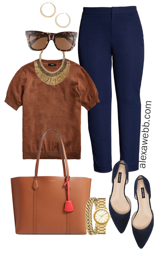 Plus Size Fall Work Capsule Wardrobe - Plus Size Workwear for Fall with Navy Pants - Alexa Webb #plussize #alexawebb