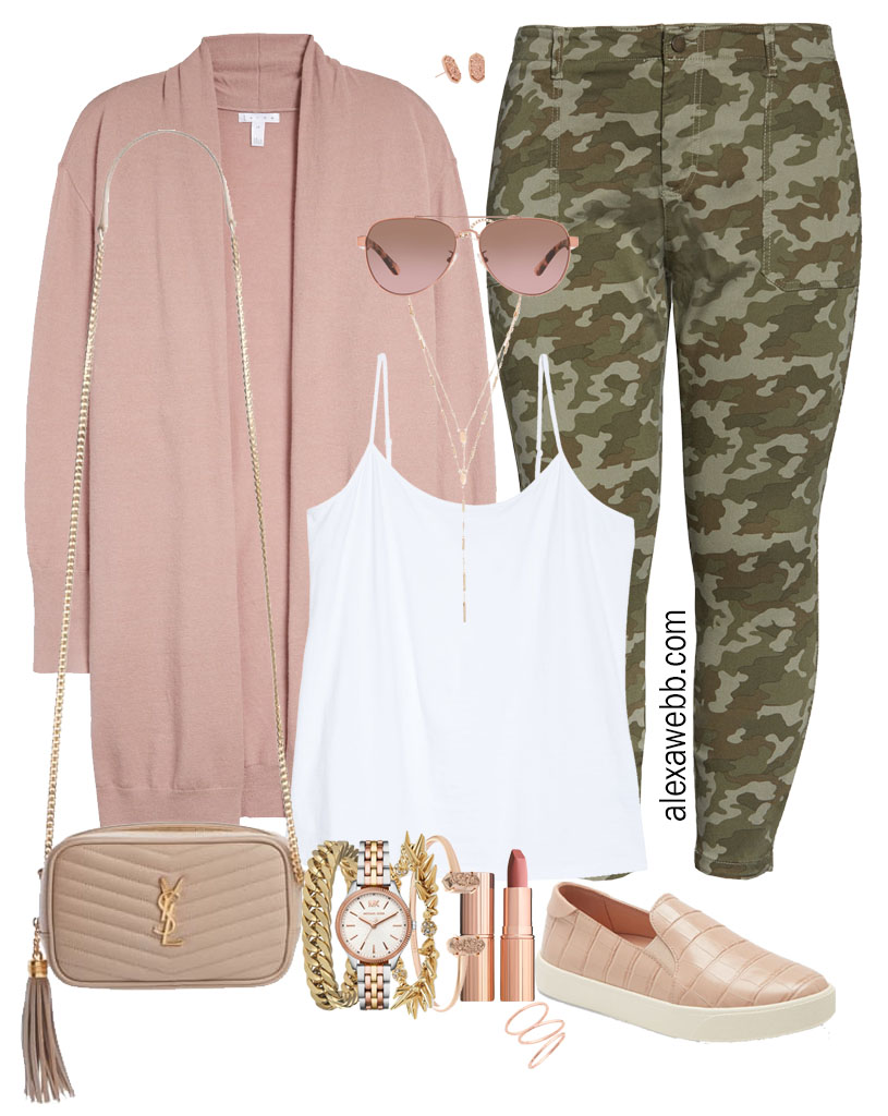 Plus Size Camo Pants Fall Outfit Ideas - Rose Gold Cardigan with White Cami, and Pink Slip on Sneakers with Crossbody Bag - Alexa Webb #plussize #alexawebb