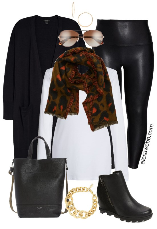 Plus Size Black Faux Leather Leggings Outfit with black duster cardigan, leopard scarf, and wedge boots - Alexa Webb