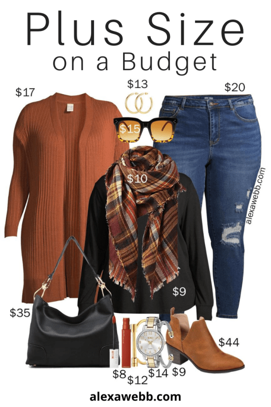 Plus Size on a Budget - Rust Cardigan for Fall with Distressed Jeans, Blanket Scarf, and Ankle Booties - Alexa Webb #plussize #alexawebb