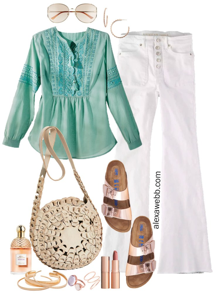 Plus Size Peasant Top Outfit with Embroidered Peasant Blouse, White Flare Jeans, and Rose Gold Birkenstock Sandals - Alexa Webb #plussize #alexawebb