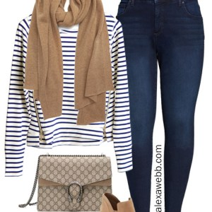 Plus Size Striped Pullover for fall and winter with Cashmere Scarf and Tan Ankle Booties with Jeans - Alexa Webb #plussize #alexawebb