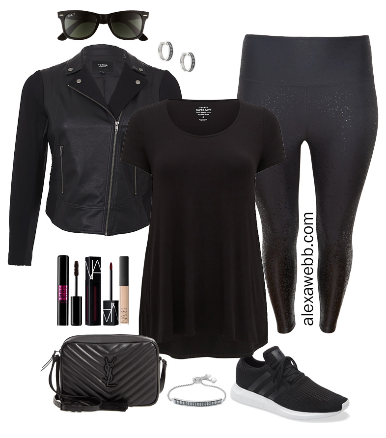 Plus Size Luxury Lounging Outfit - Athleisure Errands with biker jacket, sneakers, and glitter leggings - Alexa Webb #plussize #alexawebb