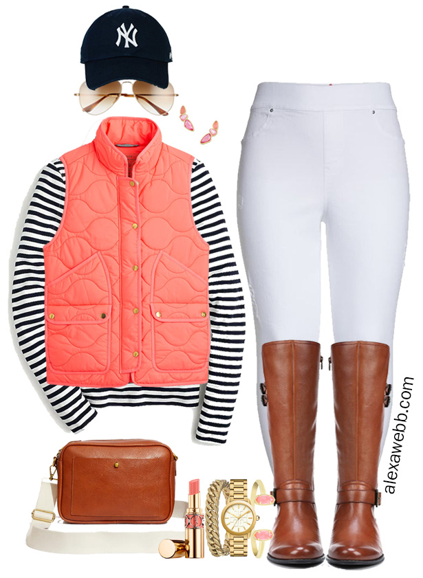 Plus Size Coral Vest Fall Outfit Ideas with Stripe Navy Tee, White Jeggings, and Wide Calf Boots - Alexa Webb #Plussize #Alexawebb