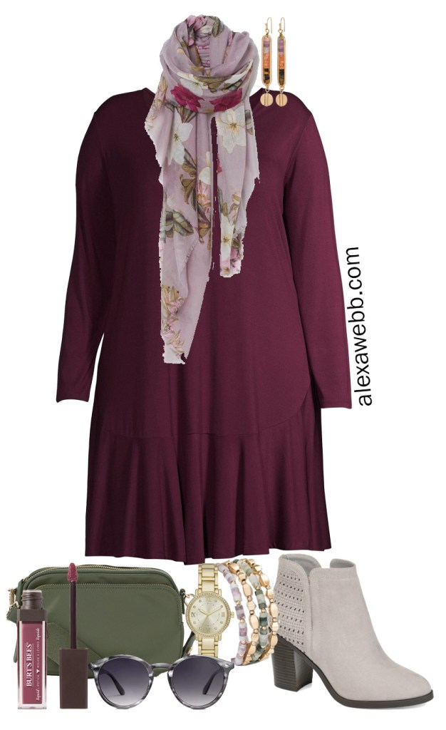 Plus Size Work-from-Home Outfit with Zoom appropriate scarf with knit dress, and booties for running errands. Alexa Webb #plussize #alexawebb