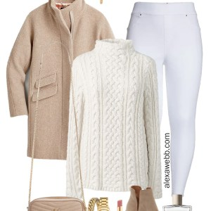 Plus Size White Jeans Fall Outfit with white Spanx jeggings, ivory tunic turtleneck sweater, coat, rancher hat, crossbody bag, and ankle booties - Alexa Webb #plussize #alexawebb