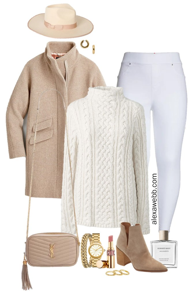 Plus Size White Jeans Fall Outfit with white Spanx jeggings, ivory turtleneck sweater, coat, rancher hat, crossbody bag, and ankle booties - Alexa Webb #plussize #alexawebb