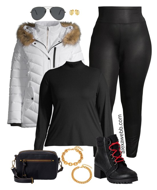 Plus Size Faux Leather Leggings Outfit Ideas with Walmart - Faux Fur Hooded Jacket and Hiker Booties - Alexa Webb #plussize #alexawebb