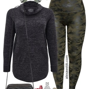 Plus Size Camo Athleisure Outfit with Faux Leather Leggings, a Tunic Sweatshirt and Sneakers - Alexa Webb #alexawebb #plussize