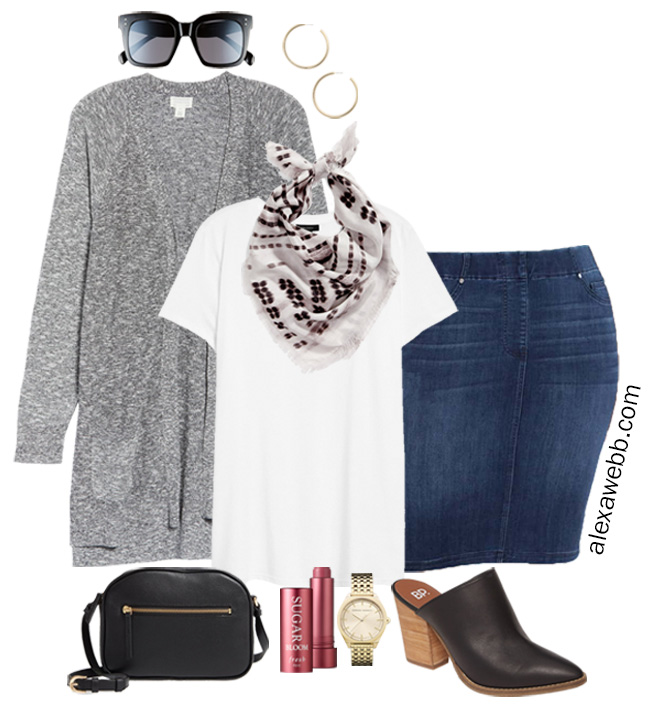 Plus Size Fall Outfits with Scarves from Nordstrom - Denim Skirt and Cardigan with Mules and Crossbody Bag - Alexa Webb #plussize #alexawebb
