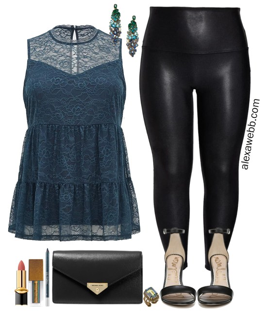 More Plus Size Faux Leather Leggings Outfits for a Night Out with mock neck lace top, ombre gem earrings, black clutch and stiletto sandals - Alexa Webb