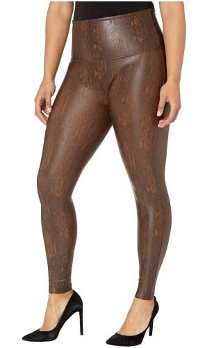 Plus size snakeskin print faux leather leggings from Spanx - Alexa Webb #plussize #alexawebb
