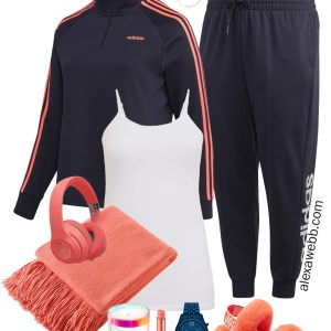 Plus Size Tracksuit Outfits in Navy and Coral for Fall Loungewear with Ugg Slippers - Alexa Webb #plussize #alexawebb